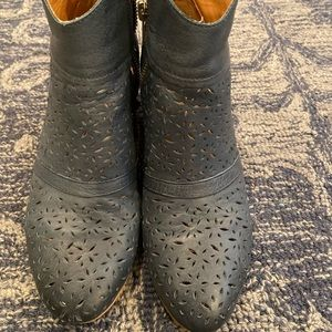 Anthropologie Silent D Blue Leather Booties Sz 37